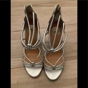 Shoes - Silver strappy heels